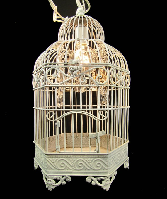 Hanging Pendant  Chandelier White Cage Crystals Custom One of a Kind