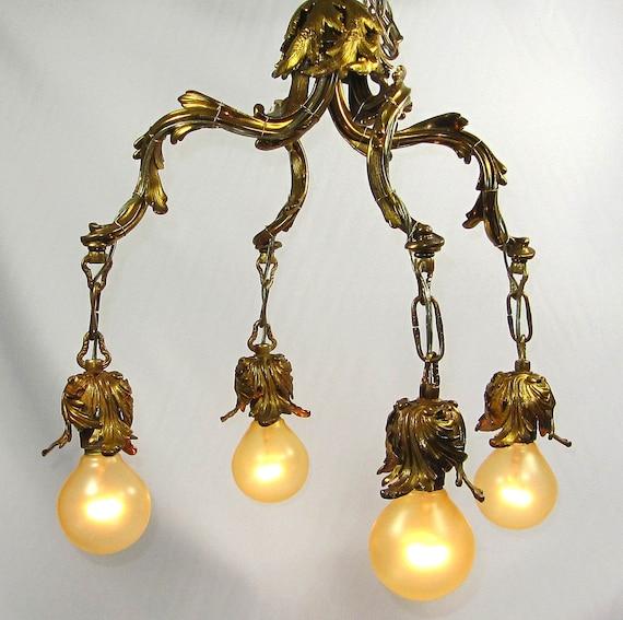 Items Similar To Lighting Rustic Chandelier Vintage 1920 S: Items Similar To Chandelier Vintage Brass Ceiling Fixture