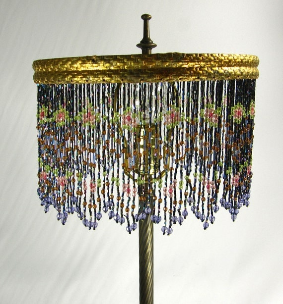 Beaded Lamp Shade Custom Made Vintage Table Lamp Base