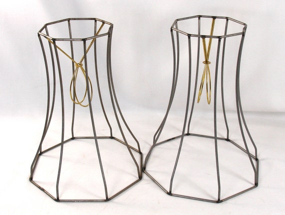 Total of 2 Lamp Shade Table Wire Frames Hand Made in NYC