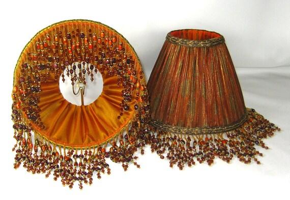 Handmade Pair Table Lamp Shades Pleated Burnt Orange By