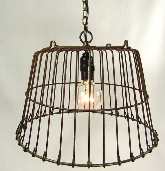 Industrial Pendant Light Lamp Wire Hanging Antique Farmhouse Cage