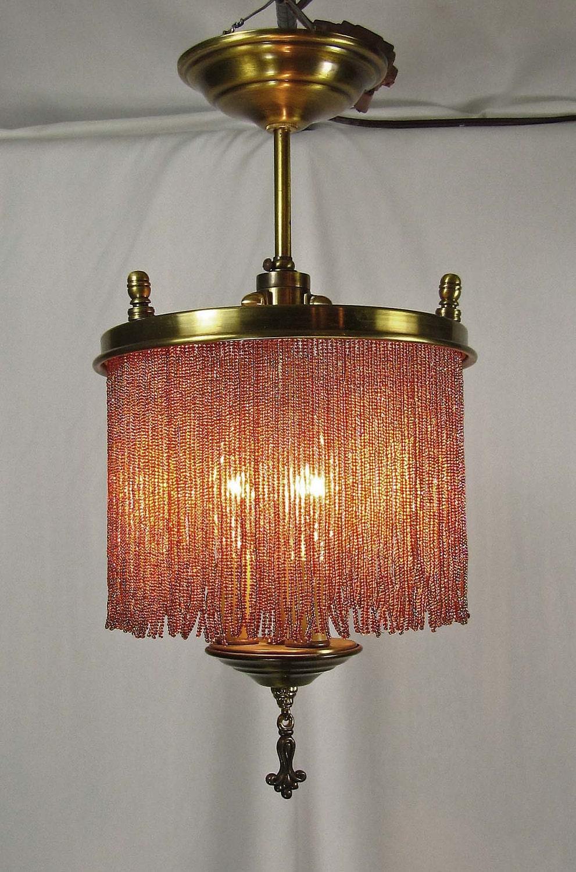 Chandelier Vintage Brass Bronze Glass Beaded Fringe 1940s