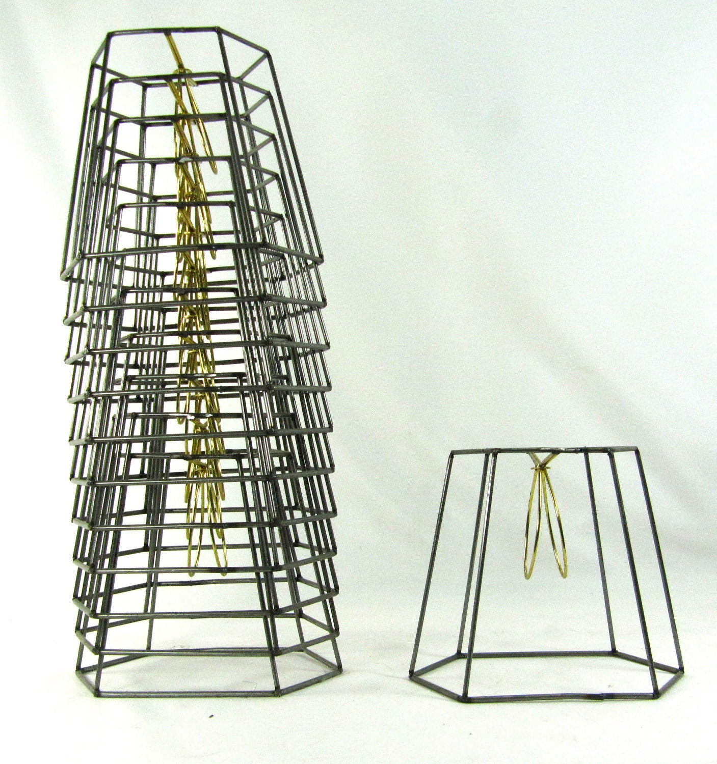 Metal Clip On Lamp Shade: 12 Lamp Shade Frames Table Wire Hand Made NYC