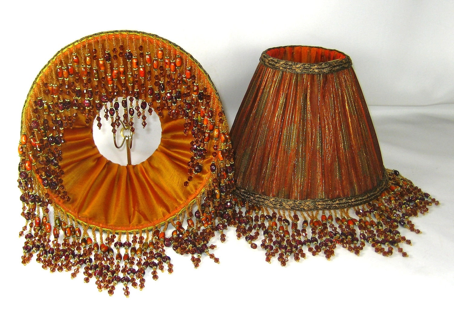 handmade pair table lamp shades pleated burnt orange by. Black Bedroom Furniture Sets. Home Design Ideas