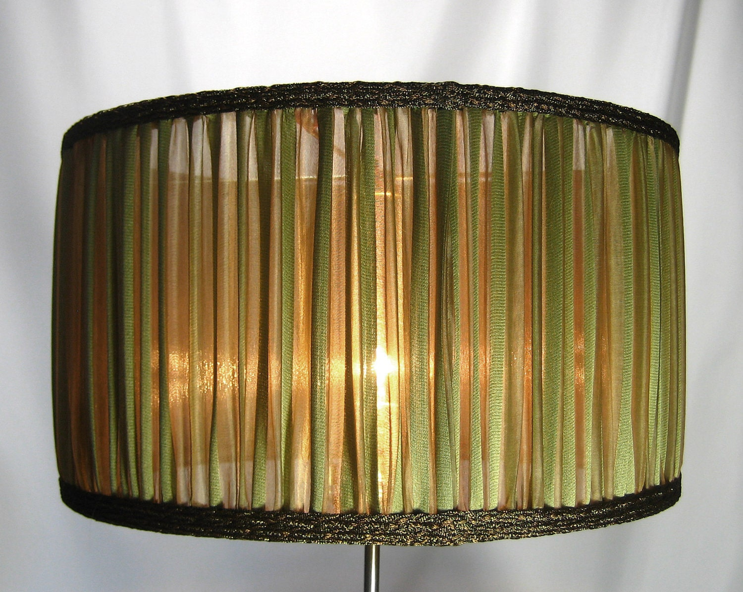 Lamp Shade Antique Greenish Gold Stripes Pleated Silk