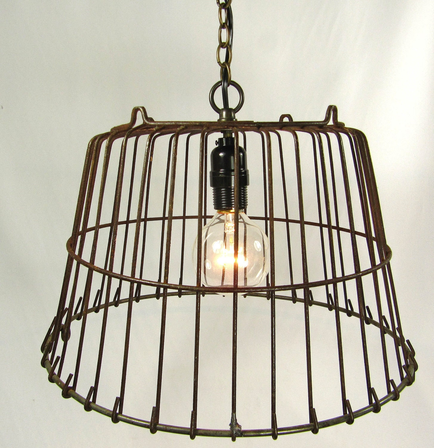 Industrial pendant light lamp wire hanging antique farmhouse for Hang photos from wire