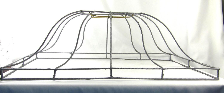 lamp shade vintage large rectangle custom wire frame pendant. Black Bedroom Furniture Sets. Home Design Ideas