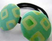 Ponytail holders : Set of Two Covered Button Pony Elastics - Green Yellow Batik - Rotifera