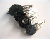 Funky Hair Clips Set of Four - Black Mix of Snap Clips - Flowers and Buttons