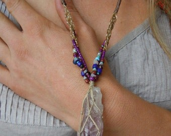Beautiful Amethyst Pendant necklace made with waxed string