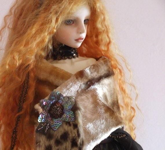 Ooak BJD Doll Vintage Beaded Silk Chiffon Fur Sequin Outfit Costume by Lily Rose