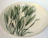 1950s Homer Laughlin Platter Vintage WHEAT AMERICANA Green Wheat Plant Pattern Pottery plate Duraprint china