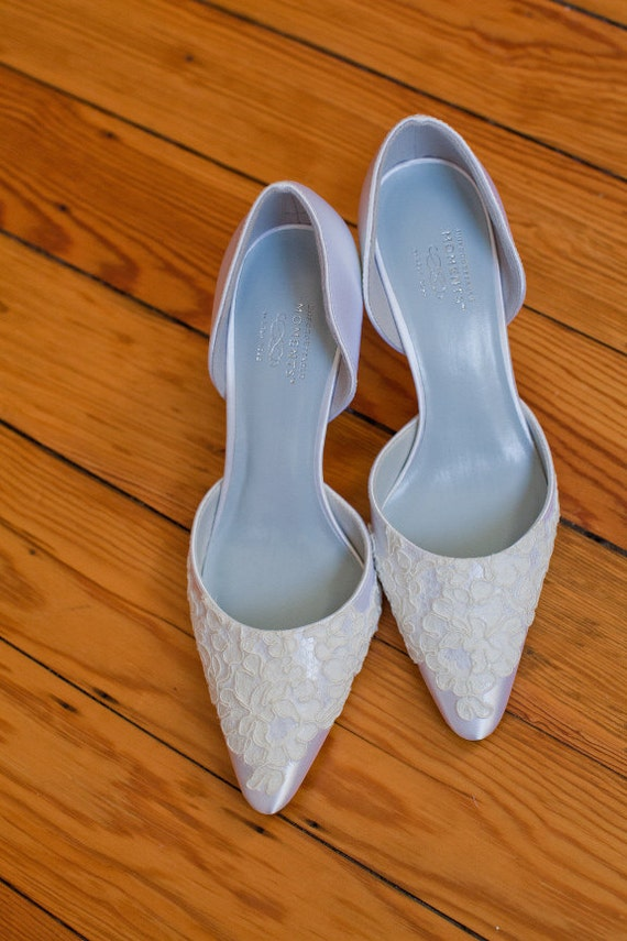 CLEARANCE Ready to Ship Size 6 White satin wedding shoe with French lace on the toe