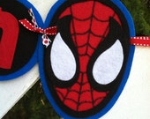 Personalized Felt Spiderman Boys Name Banner