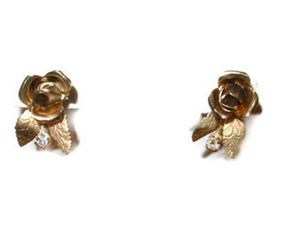 Lovely Vintage Rose Earrings with Rhinestone Accent