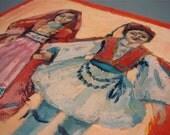 Greek Dolls still life, original oil paintings on canvas board
