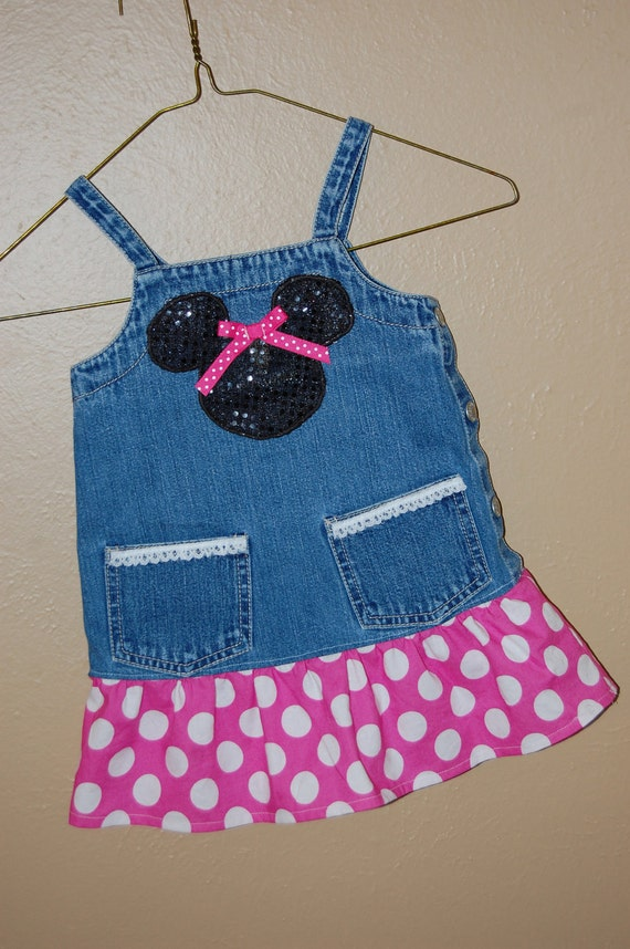2t - upcycled overalls / jumper - Mickey / Minnie theme - ready to ship -Ralph Lauren upcycle