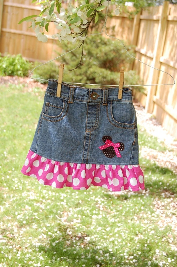 Minnie Mouse Disney inspired Jean skirt size 4t  upcycled  - ready to ship