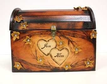 Cherry Blossom Tree Design: Wedding Card Rustic Chest Box CUSTOM