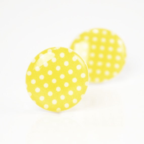 ON SALE - Buttercup Yellow Polka Dot Post Earrings - Hypoallergenic Surgical Stainless Steel Posts