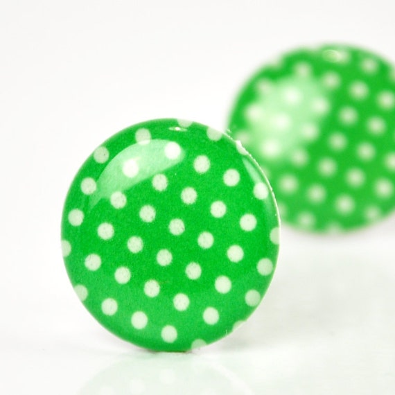 ON SALE - Kelly Green Polka Dot Post Earrings - Hypoallergenic Surgical Stainless Steel Posts