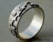 Sterling Silver  Vine Leaf  ring  hand engraved natural organic wedding ring 8 1/2. all sizes available