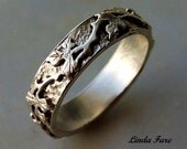 Sterling Silver  vine leaf ring, wedding ring organic natural design. size 6 1/2 hand engraved.
