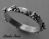 sterling silver  grape cluster ring hand engraved stackable ring, spacer ring wedding ring size 6 1/2