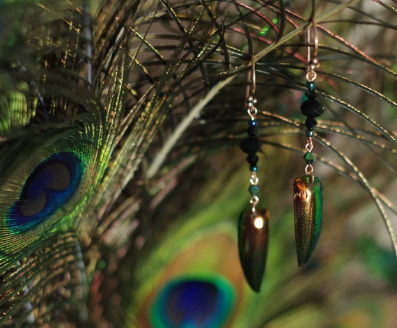 RESERVED FOR LAURIE - Jewel Beetle Earrings in Copper Tones