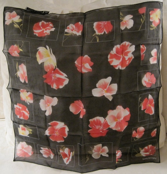 Vintage Sheer black Silk Halston Scarf Red Pink & Yellow Poppies  RESERVED