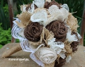 Custom Order for AllieWeb Burlap and Lace Bride's Bouquets and Boutonnieres Wedding Flowers