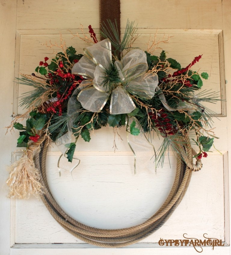 Reduced Christmas Decorations: Western Lariat Rope Cowboy Christmas Wreath Price Reduced