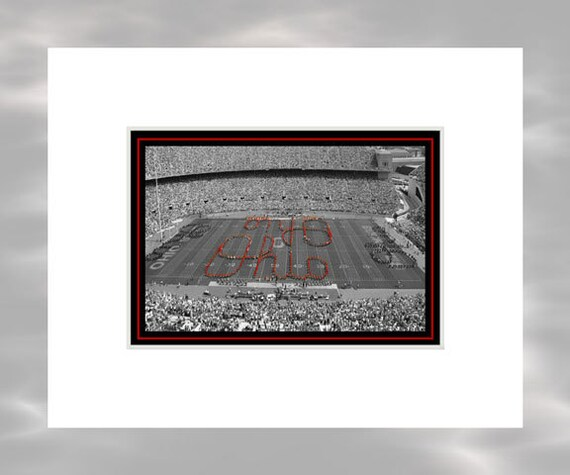 Script Ohio - 5x7 Matted Ohio Stadium Ohio State Buckeyes Columbus Ohio Art Print by Kenneth Krolikowski - Free Shipping