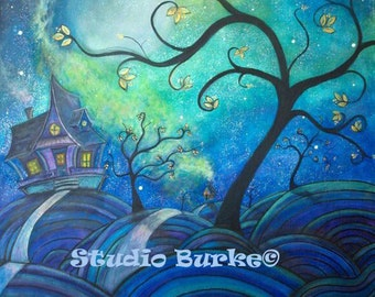 Mystic Night Original Acrylic Painting by Lesli Pringle Burke