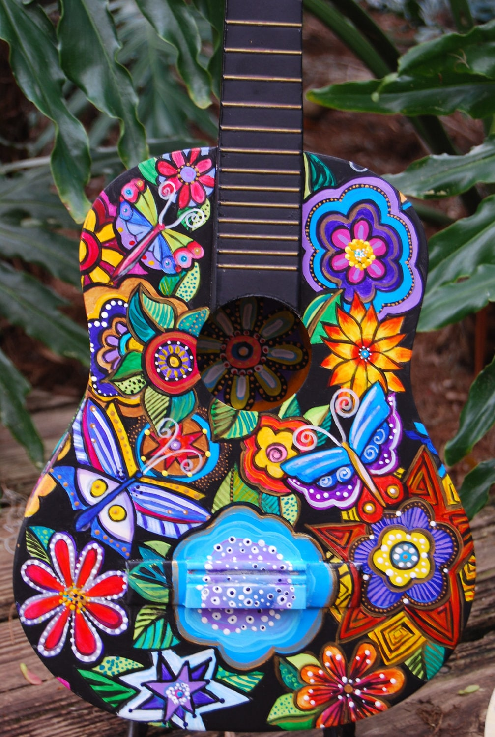 Hand Painted Acoustic Student Sized Guitar By TheStudioBurke