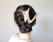 Elk Antler Hair Fork Comb Unique Tribal Fashion Statement Hair Accessory