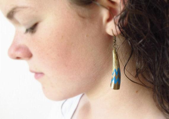 Painted Deer Antler Earrings Boho Tribal Jewelry Modern Geometric Chevron Turquoise Gold