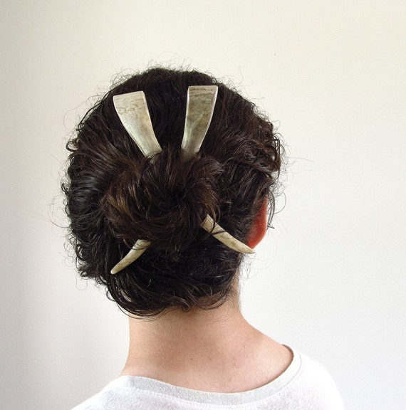 RESERVED Hair Chop Sticks Deer Antler Hair Accessory