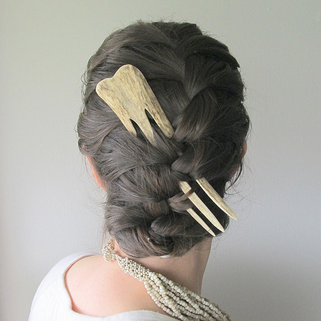 Dramatic hair comb fork from carved elk antler