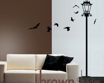 Vintage Street Lamp :  FREE 8 birds - Removable Wall Vinyl