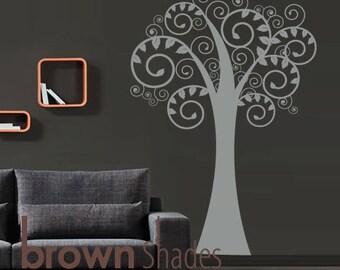 NEW DESIGN : Swirly Tree Wall Vinyl Decal