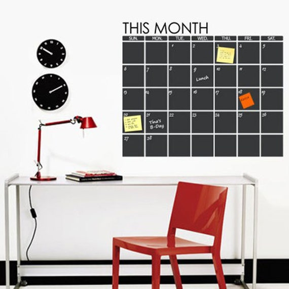Chalkboard Wall Decal -  Monthly Planner, Wall Chalkboard Decal