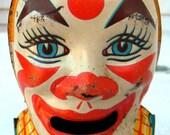 J Chein & Co. Antique Vintage 1950s Clown Tin Bank - FREE SHIPPING USA