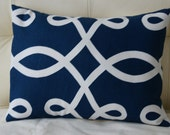 Decorative Navy with Off-White Design Pillow Cover - 12X16