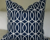 Decorative Pillow Cover - (Plus FREE 12X18 Navy Quatrefoil) - Trellis Chains in Indigo color - 20X20