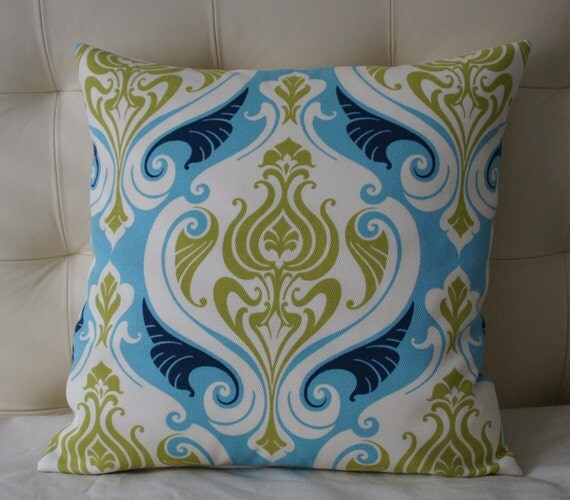 Decorative Pillow Cover - Indoor/outdoor - 20X20 - with Olive Green, Turquoise and Deep Blue Print