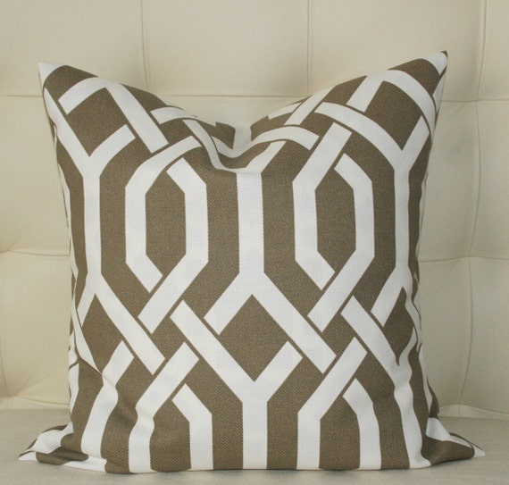 Treillage Decorative Pillow Cover - Buy ONE get the 2nd one 50% OFF - 20X20 - Mink (Brown) with Cream Design - Pattern on Both Sides