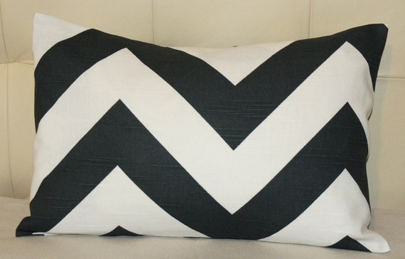 Decorative Pillow Cover - 12X18 - Chevron (Zig Zag) Print - Charcoal with White - Same Print on Both Sides