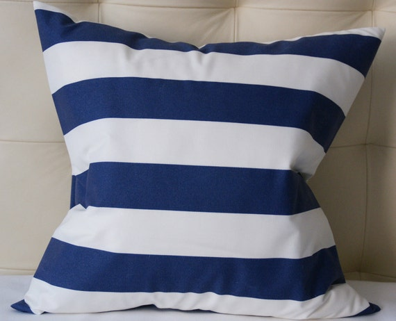 Decorative Pillow Cover - Nautical Stripes - Navy Pillow - 18X18 or 20X20